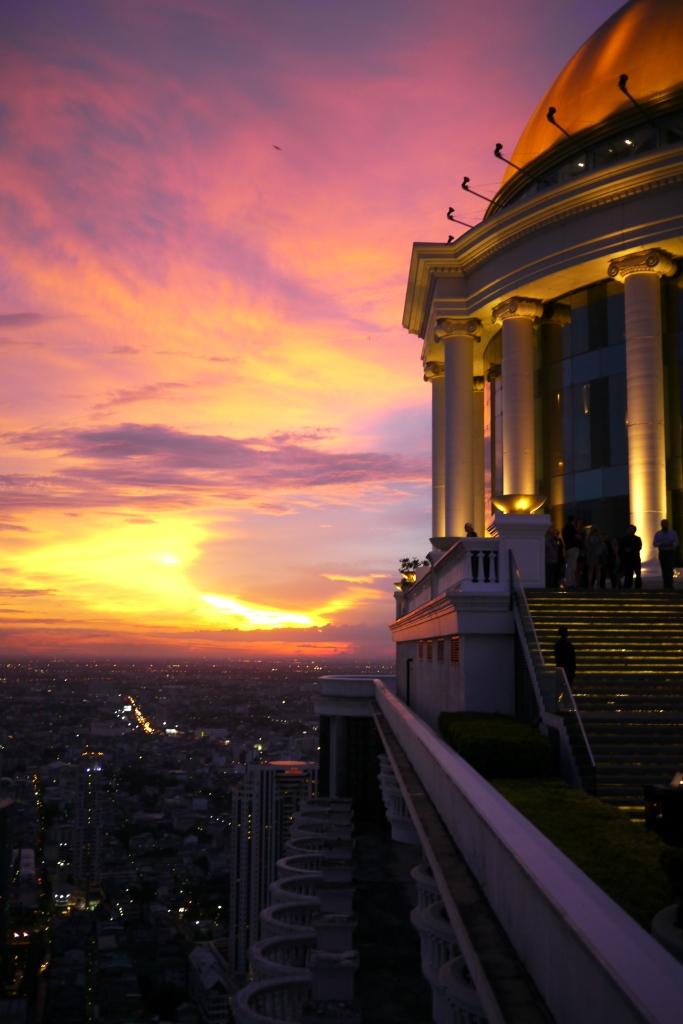 Sunset high above Bangkok, Thailand