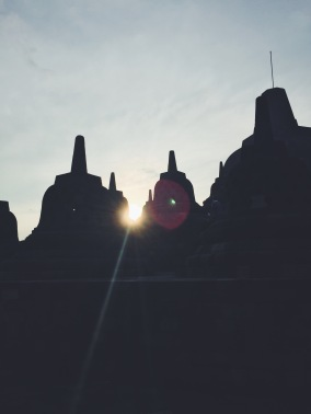Borobudur stupas at sunrise