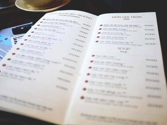 Ngon Villa menu options