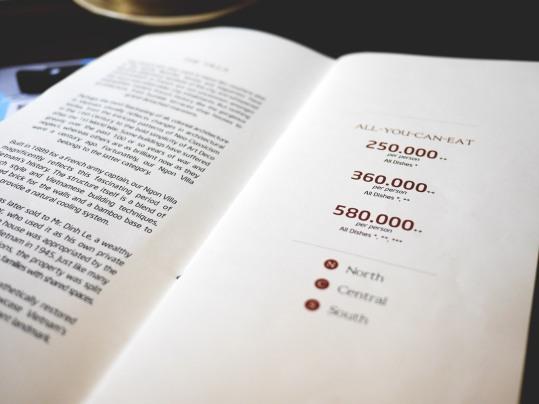 Ngon Villa menu pricing