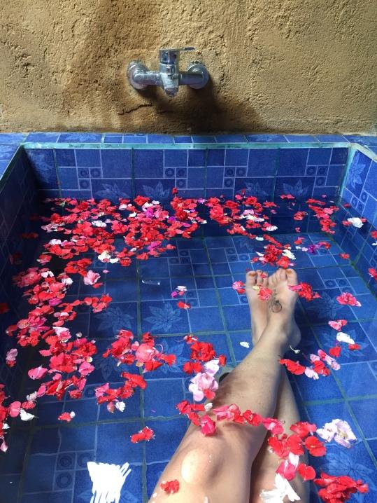 Flower petal bath soak