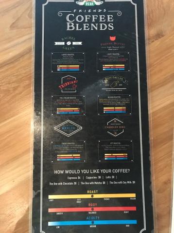 Central Perk menu