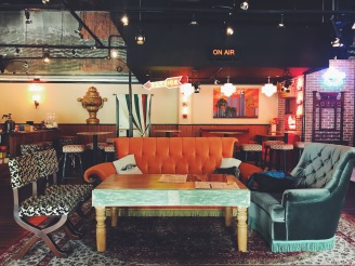 The Central Perk big orange couch
