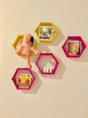 Bright hexagon shelves for baby girl