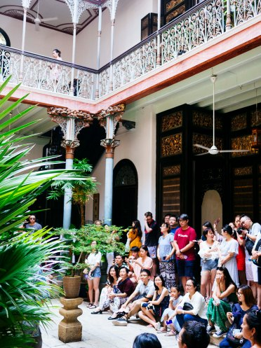 Tour group at Blue Mansion